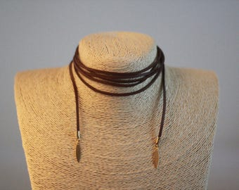 Brown Multiuse Suede String Choker, Wrap Choker, Brown Wrap Choker with leaf pendant
