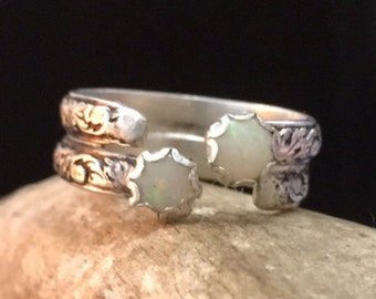 Sterling silver and opal custom ring