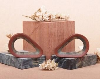 wooden teardrop plugs with inlay - custom ear plugs - gauges - organic plugs - wood plugs - wood tunnels - 25mm 28mm 30mm 32mm 36mm 38mm