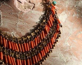 Vintage Coral, Brass, and Turquoise