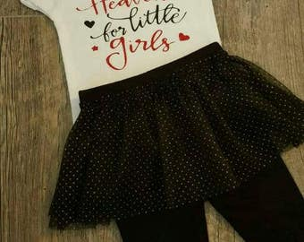 Baby Girl Bodysuit, Tutu with Built in Leggings, Black & Red Matching Two Piece Set with Glitter Bow Headband