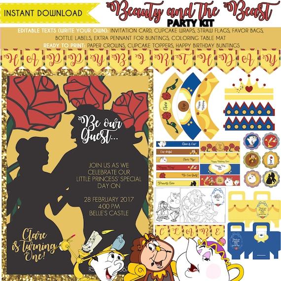 Beauty and the Beast Printable Birthday Party Kits | Birthday Wikii