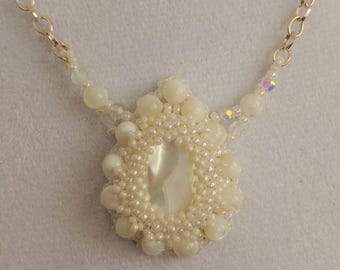 Mother of Pearl Pendant Bead Embroidered Necklace