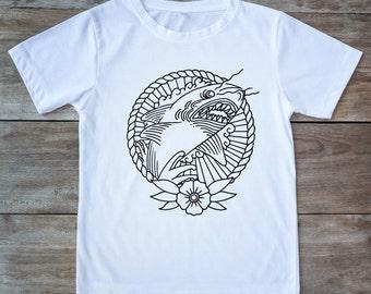 Shark shirt, shark week shirt, shark tattoo, tattoo shirt, classic tattoo art, old school shirt, hipster gift, gift for tattoo lovers