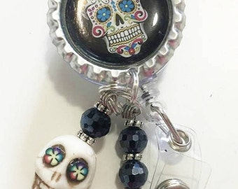 Sugar Skull ID REEL BADGE Retractable Clip On with Howlite Skull And Beads