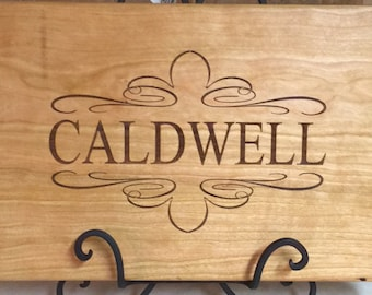 Personalized laser engraved cutting board makes a one-of-a-kind wedding, anniversary or housewarming gift