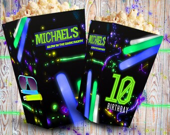Neon party printable popcorn boxes, neon party digital popcorn boxes, neon custom popcorn box, party, birthday, customized, kit,personalized