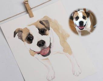 Original watercolor painting, watercolor print, watercolor art, Pet portrait, Wall Art Wall Decor, Personalized Gift