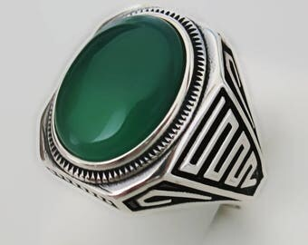 Handmade 925 Sterling Silver Natural Green Agate Stone Men's Ring #M32