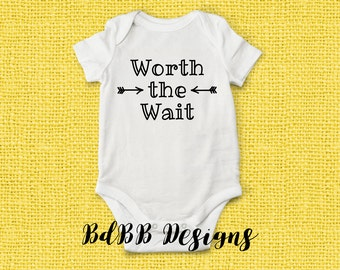Worth the Wait Baby Onesie / Hospital Outfit / Baby Boy Girl Take Home Outfit / Baby Shower Gift / Newborn Clothes / Bringing Baby Home