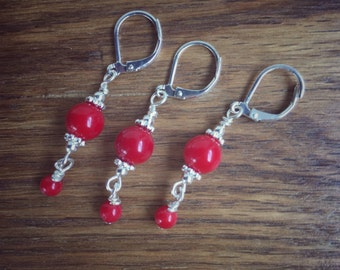 Red Bamboo Coral Earrings, Red Bamboo, Bright Red Coral, Pair and a Spare Earrings
