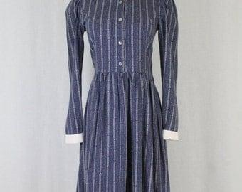 Vintage Laura Ashley Blue Wool Blend Flannel Ladylike Shirt Dress USA 6 UK 8 XS