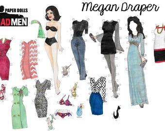 Mad men's watercolor hand drawn Megan Draper printable paper doll