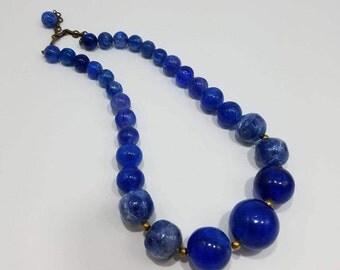 Beautiful Single Strand Blue Glass Beads