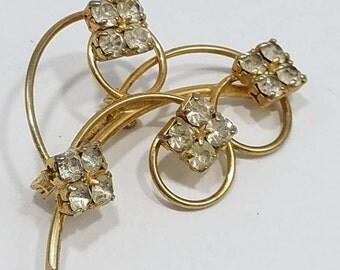 Simple & Elegant Gold Tone Floral Brooch with Rhinestones