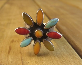 Vintage Southwest Flower Ring Size 8 Mexico Sterling Silver 16.9 Grams Native American Navajo Design