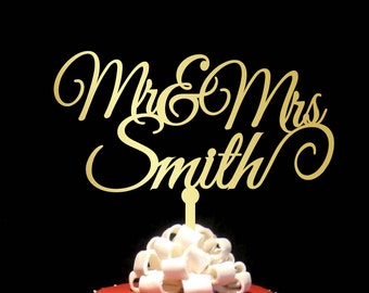 Surname Cake Topper, Custom Wedding Cake Topper, Personalized Cake Toppers, Mr and Mrs Cake Topper Gold, Gold Cake Topper, CT#043