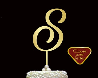Letter S Cake Topper, S Cake Topper, wedding cake topper, gold letter cake topper, monogram wedding cake topper, custom cake topper, CT#062