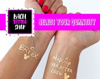 disney bachelorette party, temporary tattoos perfect for your bachelorette party favors, great gift for your bridesmaids and bride to be
