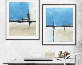 Set of 2 blue print sand printable art wall decor instant download diptych art abstract landscape painting art line modern artwork decor