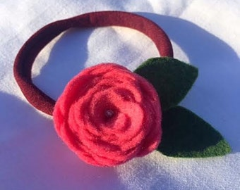 Pink or Red felt flower headband |