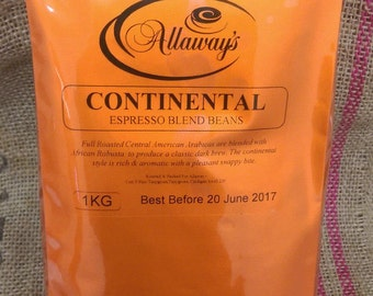 1KG Continental Espresso Roasted Coffee Beans