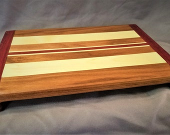 Walnut, Maple & Purple Cutting Board with Sliding Dovetail Ends