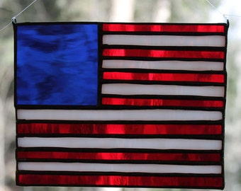 Stained Glass American Flag Suncatcher