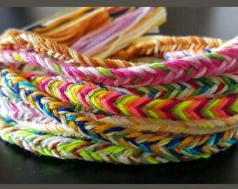 NEW! Handmade! Lot of 10 Fishtail Braid friendship bracelets multicolor