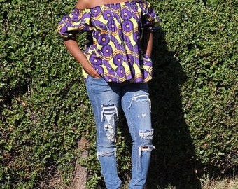 Lineo Purple Off The Shoulder Top