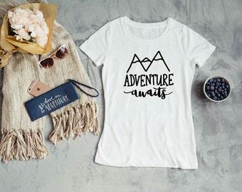 Womens Camping Shirt - Women's T Shirt - Women's Tee - Women's Top - Women's Shirt - Women's Graphic Tee - Adventure Awaits T Shirt