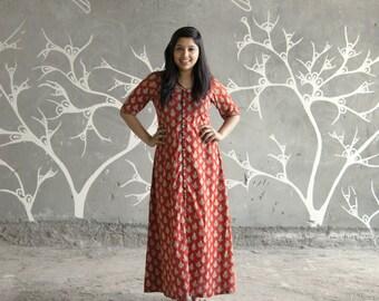 Red slit maxi dress