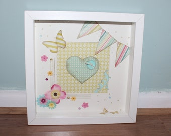 Girly, Bunting, Butterlfies and flowers boxed frame with heart and paper work detail 1/3