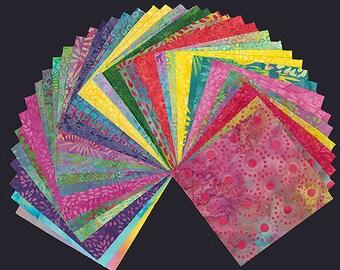 "Sweet Nectar Batiks Stack Pack/Layer Cake by Kathy Engle for Island Batiks - 42, 10"" X 10"" Precut Batik Fabrics"