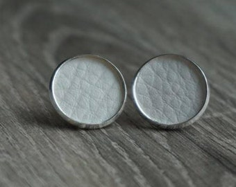 Earrings, earrings 16 / 18 mm silver white leather, artificial leather,