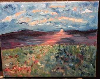Hidden Flowers,10x8. (Original, Oil, Landscape, Impression, Sunset,flowers,red,maxwellbrown)