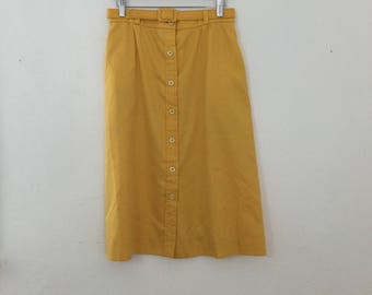 Vintage 1970s Jonathan Logan Yellow Front Button-Up Skirt