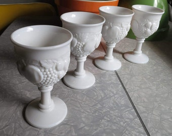 Milk Glass Goblets Della Robbia Style by Westmoreland! Set of 4 Vintage Discontinued Line!