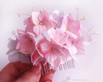 Bridal Hydrangea hair comb Spring wedding comb Hair accessories hydrangea Bridesmaid gift Hydrangea flowers Light Pink Hydrangea jewelry