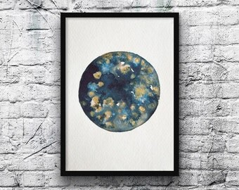 Moon-Moon painting painting-zen-original watercolor watercolor-Moon-khadipaper-handmade paper-