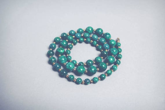 Green & Gold Beaded Necklace