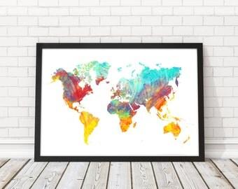 World Map watercolor, World map art, Map poster, Modern wall art, World map wall art, PRINTABLE art, Wall decor map, Travel map, Map Decor