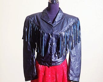 Vintage Geniune Leather Biker Tassle Jacket