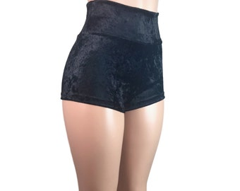 Black Velvet High Waisted Booty Shorts - club or rave wear - Crossfit - Running