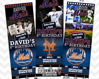 New York Mets Invitation, Mets Baseball Invites, Baseball Birthday Party, Mets VIP Pass, Ticket Invitation, Save the Date Card, Baby Shower
