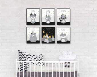 Nursery print set, Monochrome nursery, Woodland nursery set, Nursery printable set of 6, Forest friends set, Deer raccoon, Baby Shower Gift
