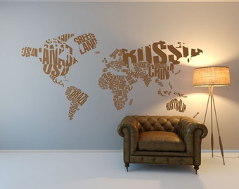 World Map Wall Sticker, Wall Decal, Home Decor, Wall Stickers For Living Room , Map Of The World Decal