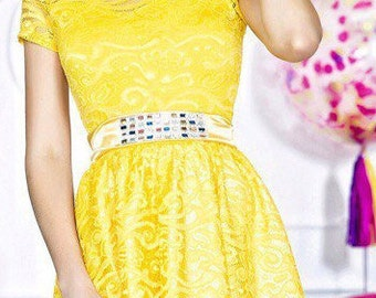 Charming dress the Yellow for different occasions. Yellow  dress.   Evening dress .  Dress for a holiday.