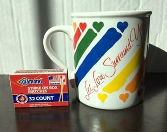 Vintage Hallmark Let Love Surround You Rainbow Mug Made in Japan