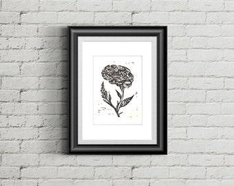 Brainstem - Black Linocut Print